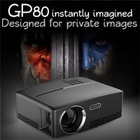 Wholesale Vga Controller - GP80 Projector 1080P Full Color LED Projector 1800 Lumens 2200:1 Contrast Ratio with VGA AV USB Remote Controller