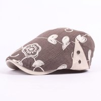 Wholesale Ladies Newsboy Hats Grey - Wholesale-Summer Vintage Lady Newsboy Hat Cotton Floral Flower Embroidery Ivy Irish Casual Gatsby Cap For Woman