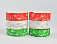 Wholesale Merry Christmas Ribbon - 25mm width Christmas rib knitting belt Merry Christmas snowflake printed grosgrain tape Holiday gifts ribbons decoration
