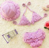 Wholesale Kids Bikini Outfits - New Baby Girl Bikini Set Kids Girls Swimwear Baby Swimsuit Ruffle Bow Princess 3pcs Outfits Children Swimming Suit With Cap