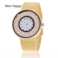 Wholesale cheap ladies wrist watches online - Fashion Cheap Stainless Steel Gold ladies bracelet mesh strap Wrist Watches For Women Branding Luxury creative Rhinestone reloj