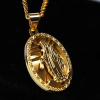 Wholesale Stainless Medal - 14K Gold Plated Micro Virgin Mary Oval Medal Charm Pendant Necklace 3mm 24inch Chain for Men Women