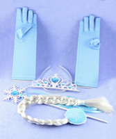 Wholesale Wholesale White Cotton Gloves - Girls Full Finger Gloves Hairpiece Wig 4 Pieces Set Girl Gift Free shipping
