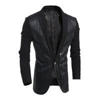 Wholesale China Brand Suits - Wholesale-2016 American Style Quality Patent Leather Men's Casual Suit Coat Outwear Brand Men's Blazer Coat For Summer Blazers China S1214