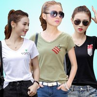Wholesale Cheap Casual Womens Shirts - Longly New Fashion Cheap Summer Slim Short Sleeve Casual Womens T-shirt V-Neck Cotton Tops Shirts for Women Free Shipping