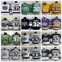 Retroceso Los Angeles Kings 33 MARTY McSORLEY 32 Jonathan <b>Quick Black</b> amarillo gris verde púrpura blanco NHL Hockey sobre hielo Jerseys