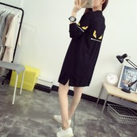 Wholesale Wool Knit Poncho - Wholesale-Women's Korean Style Monster Eyes Pattern Long Sweater Casual Wool Blends Knitted Black Cardigans Loose Poncho Cape Sweaters 916