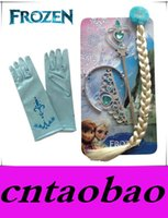 Wholesale Wig Accessories Supplies - Promotion 4pcs Frozen Party Supplies Accessories Elsa Anna Crown Magic Wig Wand Glove Princess Crown Hair Accessories