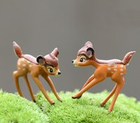 Wholesale artificial mini deer sika fairy garden miniature gnomes moss resin crafts figurines for home decoration accessories