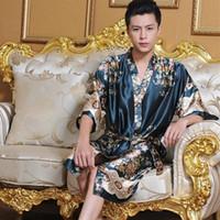 Wholesale Silk Plus Size Kimono Robe - Wholesale-1pcs men robes bathrobe plus size Manview robe for man mens sexy sleepwear male kimono silk free shipping Silk bathrobe men