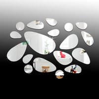 Wholesale Dining Stickers - Living room TV backdrop bedroom dining creative decorative pebbles perspective mirror stickers new 2016 European and American fashion