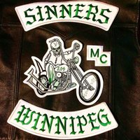 Wholesale Iron Motorcycle Club - NEW ARRIVAL MC SINNERS EMBROIDERY PATCH MOTORCYCLE CLUB VEST OUTLAW BIKER MC JACKET PUNK IRON ON PATCH FREE SHIPPING
