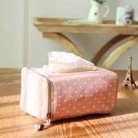 Wholesale Lace Tissue Box Covers - Wholesale- High Quality Creative Dot Lace Fabric Cotton and linen tissue box cover type home decoration napkin holder for paper towels#S695