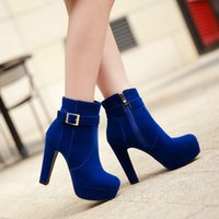 Wholesale Sexy Platform Ankle Boots - Women Black Ankle Boots Round Toe Chunky Heels Martin Boots Zip Platform Sexy Flcok Winter Women Short Boots Size 34-42