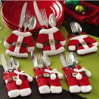 Wholesale Metal Dinner Forks - 2pcs set Christmas Decoration For Home Silverware Holder Santa Metal Belt Pockets Dinner Knife Fork Holders Christmas Christmas knife fork