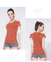 Wholesale Womens Shirts Elastic Sleeves - Wholesale-Female Dry Quick Round Collar Short Sleeve Shirt Outdoor Casual Elastic Sports T-Shirt womens Sport Yoga T-shirts