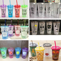 Wholesale Plastic Coffee Straws - 450ML Emoji Letter Tumblers Plastic Milk Plastic Drinking Coffee Tea Cups With Lids And Straws Gifts HH7-226