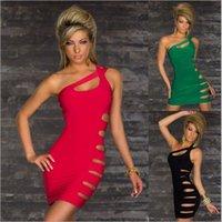 Wholesale Dresses Single Shoulder - Sexy club dresses single shoulder solid color hollow out night club dresses European styles