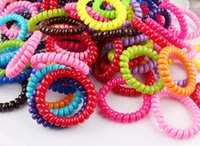 Wholesale Hairband Telephone - 100pcs Hair Accessories 5cm Rubber Hairband Telephone Cord Elastic Hair Ring Rope Bands Headband Ponytail Holders Gum for Hair