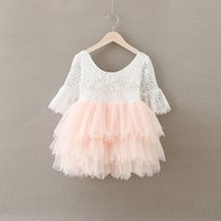 Wholesale Half Pearls Wholesale - Christmas Baby Girls Crochet Lace tulle Dresses Kids Girl Princess tutu Floral Dress Girl Autumn Pearl Party Dress 2016 Babies clothes