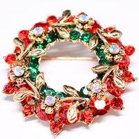 Wholesale Green Rhinestone Wreath Brooch - Festival Vintage Colorful Christmas Wreath Brooches Flower Garland Brooch Rhinestone Crystal Pins Breastpin for Women Girls Gift