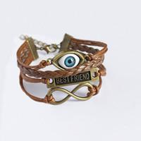 Wholesale Man Evil Eye Bracelet - Charm Bracelets for Women Angel Devil Eyes Cuff Bracelets Evil Eye Braclet Men Male Vintage Jewelry Leather Bracelet