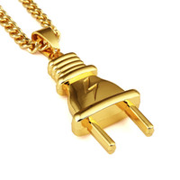 Wholesale Stainless Steel Personalized Necklace - New Personalized Fashion Design Mens Plug Pendant Necklaces 18K Gold Plated Link Chains Hip Hop Jewelry Punk Rock Micro Men Long 75CM Chain