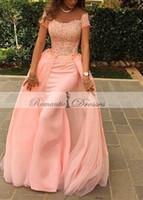 Wholesale Long Peach Skirt - Vestidos De Festa Longo Peach Color Short Sleeves Prom dresses Lace Detachable Skirt Evening Dresses Long mermaid Party Dresses