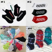Wholesale Wholesale Athletics Shorts - NEW Unisex Striped 350 Socks Men Hip-hop Compression Off White Short Socks VS Pink Men's Women Skateboard Socks Free Shipping