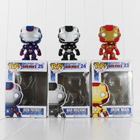 Wholesale Iron Man Funko - FUNKO POP Avengers Iron Man PVC Action Figure Collection Toy Doll 9.5cm 3 style you can choose Free Shipping