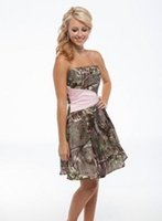 Wholesale Short Gold Prom Dresse - 2017 Simple Short Camo and Pink Bridesmaid Dresses Strapless A-line Satin Fashion Prom Gowns Knee-length Summer Mini cheap bridesmaid dresse
