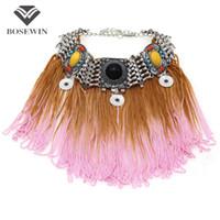 Wholesale unique tin gifts - Unique Design New Resin Long Tassel Necklaces & Pendants Bohemia Choker Statement Accessories Women Collar Necklace CE4109