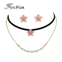 Wholesale Pink Indian Style Earrings - Gothic Style Jewelry Sets Black Tattoos Choker Multi Layer Gold-Color Chain Necklace and Pink Flower Earrings For Women