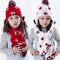 Wholesale Kids Scarves Accessories - Knitted Winter Warm 2 Pieces Sets Accessories Kids Flower Hats Scarf Suit Classic Style Christmas Gift For Boys Girls D1
