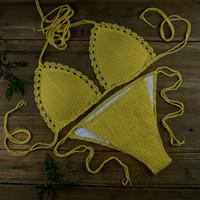 ingrosso bikini giallo del merletto-pizzo sexy Set bikini giallo - dopo stringatura Con pettorina - Beach Swimming Pool Spa Costumi da bagno costumi da bagno hot spring 13 colori