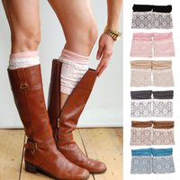 Wholesale Girl Layer Sock - Women Girls Winter Lace Boot Cuffs Toppers Double Layers Leg Warmers Socks Christima Gifts 8 Colors DDA018