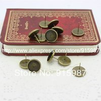 Wholesale Cabochon Earring Bases - 50pcs lot Fashion Vintage Adjustable Stud earrings Bases Blanks 12mm Antique Bronze Cabochon Stud earrings E3019