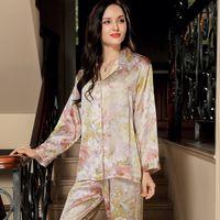 Wholesale Ladies Piece Pajama Set - Wholesale- YIER Brand Autumn Women's 100% Silk Sleepwear Long Sleeve 2 Piece Sets Silk Pajama Women Pijama Lady Pajamas Loungewear Clothes