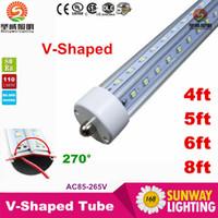 Wholesale Pin Angle - T8 V-Shaped Led Tube Cooler Light 4ft 5ft 6ft 8 ft Single Pin fa8 Led Light Tubes 270 Angle Double Sides AC 85-265V