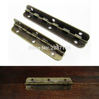 Wholesale Wooden Wine Gift Boxes Wholesale - Wholesale- 6pcs Lengthened Antique Brass Jewelry Gift Wine Wooden Box Case Hinge furniture Dollhouse Cabinet Door Window Hinge With Screws