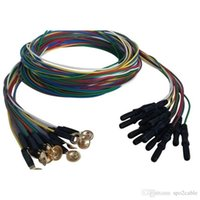 Wholesale Dinning Plates - Din 1.5mm Electroencephalo-graph Brain EEG Cable Coloful Copper Cup Electrode Gold-plated Pack of 12pcs CMD0138A