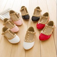 Wholesale Child Pink Dress Shoes - Rivet Toddler Girls Shoes Princess Leather Flat Single Shoes 2016 Fashion Children Dress Party Shoes Pointed Toe Little Girl Sandals
