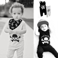 Wholesale Baby Pirate Romper - Toddle Skull design romper Nununu Baby unisex sleeveless jumpsuit Summer Autumn Playsuit Black Gray Pirate Skull cool Costume