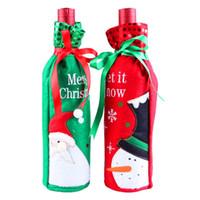 рождественская брошь с проблесковым светом оптовых-Рождество бутылки вина обложки сумки с блестками Рождество Home Party Decor зеленый Санта-Клаус Красный Снеговик красный зеленый