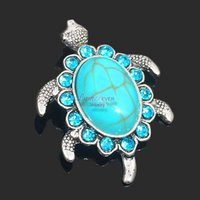 Wholesale Turtle Necklace Rhinestones - High quality w298 Turtles 30mm rhinestone metal snap button for Bracelet Necklace Jewelry For Women Fashion accessories