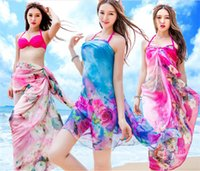 Wholesale Towel Swimsuit Cover Women - New Women Sunscreen Swimsuit Chiffon scarf Multifunctional scarves Veil Cover-Up Lady beach towel 10Pcs Lot Free Shipping