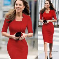 mismo kate middleton vestidos al por mayor-Moda Celebrity Princess Kate Middleton Mismo estilo OL Bodycon Media manga Mujeres Azul Vestido formal rojo Envío gratuito