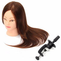 Wholesale Hairdressing Training Heads Real Hair - Wholesale-Professional Hairdressing Dolls Head Female Mannequin Styling Training Head 100% Human Real Hair High Quality 24 Inch