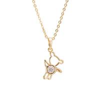 Wholesale Crystal Rhinestone Teddy Bear - 6Pcs Lot Women Fashion Jewelry Necklace 2016 New Design Cute Teddy Bear Collarbone Chain Pendant Necklace