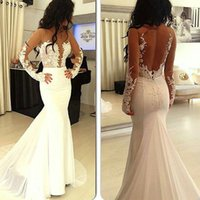 Wholesale Keyhole Bandage Dress - Hot Sexy White Lace Illusion Tulle Neck Mermaid Cout Train Backless Long Sleeve Evening Dress